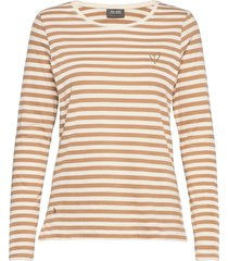 arden stripe o-ls tee t-shirts & tops long-sleeved beige mos mosh