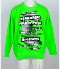 dsquared2 designer sweatshirts, neon green cotton men's sweatshirt