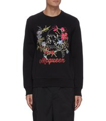 skull floral embroidered sweatshirt