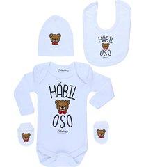 conjunto recién nacido habiloso blanco calambur