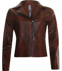 biker jacket croco