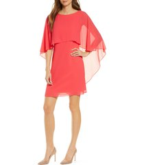 women's vince camuto chiffon cape cocktail dress, size 14 - red
