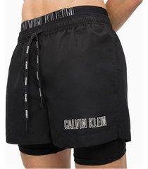 calvin klein swim trunk zwembroek drawstring logo horizontaal zwart