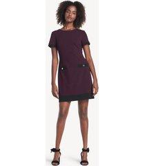 tommy hilfiger women's essential short-sleeve dress aubergine/black - 2