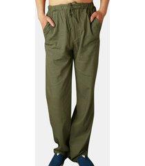 pantalones casuales transpirables de lino fino para hombres