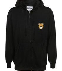 moschino zipped bear patch hoodie