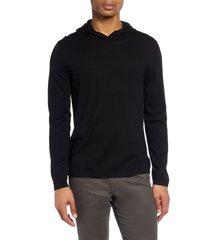 men's vince wool & cashmere pullover hoodie, size medium - black
