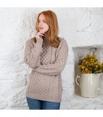 women's traditional merino wool aran sweater beige medium