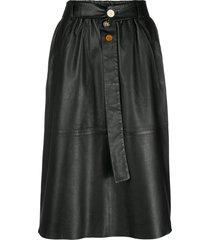 alysi belted leather skirt - black