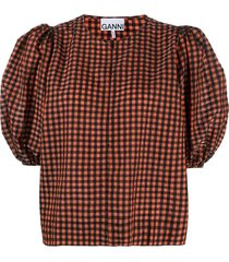seersucker check blouse