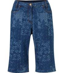 bermuda in jeans elasticizzato fantasia con cinta comoda (blu) - bpc bonprix collection