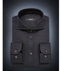 desoto luxury line heren overhemd cirkels cutaway jersey slim fit zwart