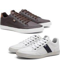 kit 2 sapatênis hshoes casual conforto masculino - masculino
