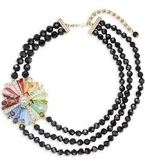 rhinestone & crystal three-stand beaded color wheel necklace
