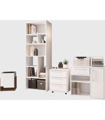 conjunto para escritório 02 livreiro/balcáo multiuso/gaveteiro/cachepô branco modern office e estilare móveis - tricae