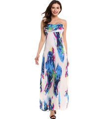 summer long bohemian ink print sexy high waist strapless large hem party dress