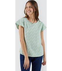 camiseta para mujer ramilletes color verde, talla l
