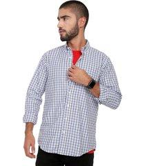 camisa azul-blanco-negro colore