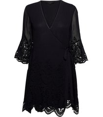 zariah ls dress dresses wrap dresses svart allsaints