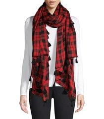 barja women's check wool & silk tassel scarf - blue
