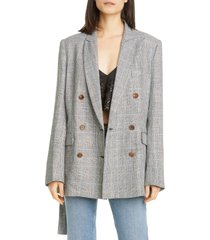women's rachel comey needham windowpane plaid belted linen blazer, size 00 - black
