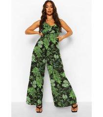 wide leg palm print jumpsuit met laag decolleté, black