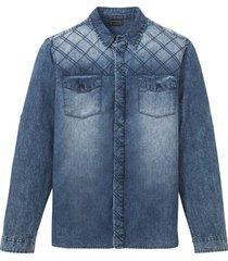 camicia in jeans a maniche lunghe slim fit (blu) - rainbow