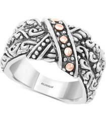 effy decorative two-tone statement ring in sterling silver & 18k rose gold