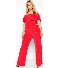 plus bardot ruffle jumpsuit, red