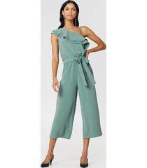 rut&circle ofelia one shoulder jumpsuit - green