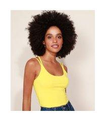 top cropped feminino básico alças finas amarelo