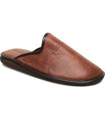 nappa lthr upper slippers tofflor brun hush puppies