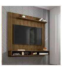 painel oslo para tv até 55 pol móveis bechara 2 nichos madeira rústica