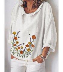 camicetta manica 3/4 con scollo a stampa floreale per donna
