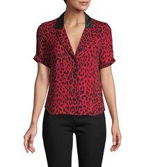 rta women's leopard-print silk top - red - size xs