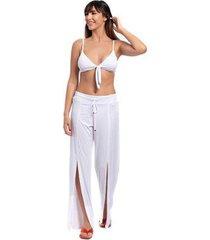 calça pantalona lisa fenda lateral praia piscina casual - feminino