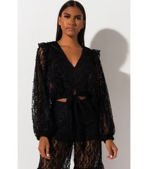 akira all for u lace tie front blouse