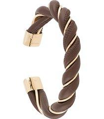 bottega veneta twisted leather bracelet - brown