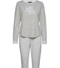 lrl l/s scoop jogger pant pj set pyjamas grå lauren ralph lauren homewear