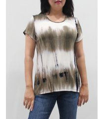 coin 1804 women's tie dye short sleeve button back top