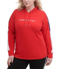 tommy hilfiger plus size colorblock-sleeve hooded top