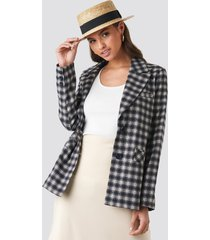 na-kd classic checkered straight fitted blazer - black,grey,multicolor