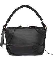 miu miu braided-handle shoulder bag - black