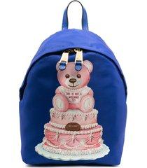 moschino cake teddy bear backpack - blue