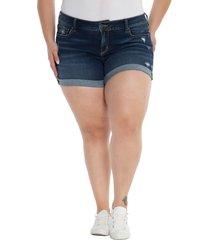plus size women's slink jeans cuff denim shorts