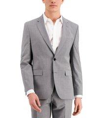 hugo men's gray textured modern-fit wool suit separate jacket
