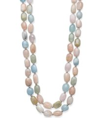 "baroque shaped multi-color morganite 14x10mm double row 18"" and 19"" necklace with sterling silver clasp"