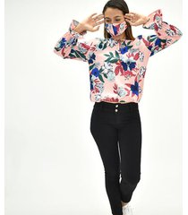 blusa manga larga antifluidos con tapabocas
