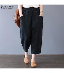 s-5xl zanzea de la mujer de harén pantalones casuales de algodón étnico tamaño holgados pantalones plus -negro