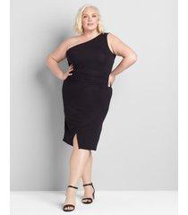 lane bryant women's one-shoulder asymmetric hem dress 34/36 black